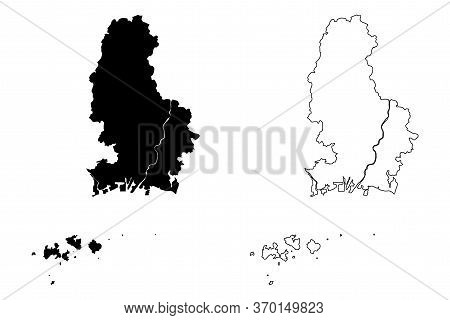 Himeji City (state Of Japan, Island Country, Hyogo Prefecture) Map Vector Illustration, Scribble Ske
