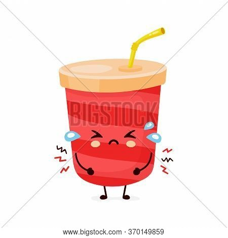 Cute Sad Cry Soda Water Cup. Vector Flat Cartoon Character Illustration Icon Design.isolated On Whit