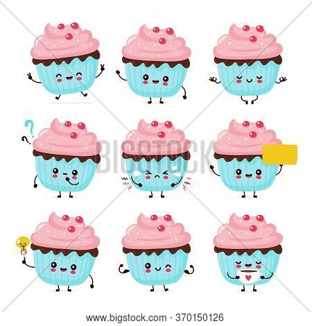 Cute Happy Smiling Cupcake Set Collection. Vector Flat Cartoon Character Illustration Icon Design.is