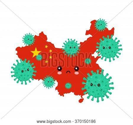 Cute Sad China Attacked Coronavirus Infection.vector Flat Style Cartoon Character Illustration.isola