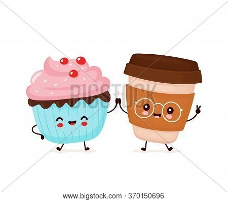 Cute Happy Smiling Cupcake And Coffee Cup. Vector Flat Cartoon Character Illustration Icon Design.is