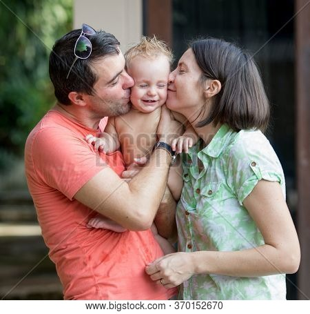 Young family with a baby boy