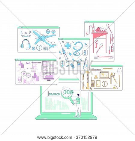 Job Search Thin Line Concept Vector Illustration. Male Work Seeker, Employment Consultant, Man With