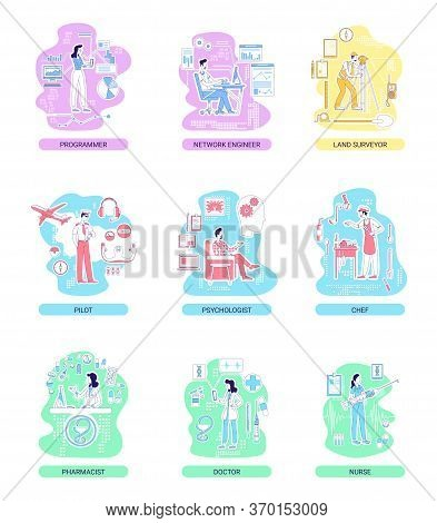 Medical And It, Service And Industrial Professions Thin Line Concept Vector Illustrations Set. Male