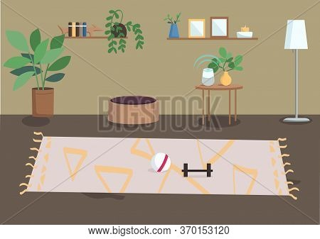 Living Room Flat Color Vector Illustration. Furnished Residential House. Spacious Home. Potted House