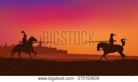 Two Horse Riding Knights Jousting At Sunset With Ancient Medieval Town Silhouette In The Background