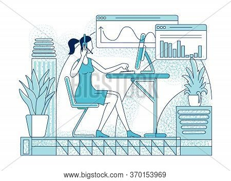 Call Center Worker Flat Silhouette Vector Illustration. Customer Support, Telesales Company Employee