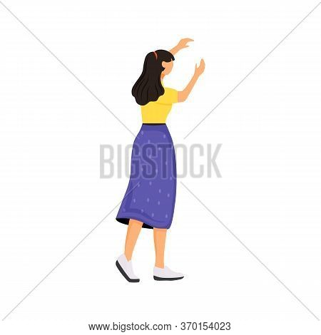 Young Woman In Casual Clothes Flat Color Vector Faceless Character. Girl Turned Back, Female Wearing