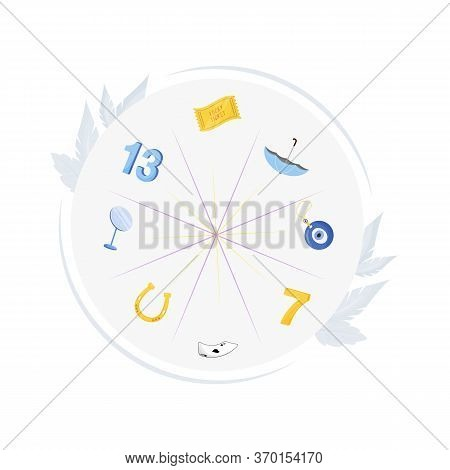 Good And Bad Omens Flat Concept Vector Illustration. Different Superstitions 2d Cartoon Composition