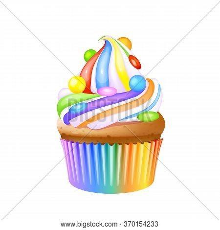 Cupcake, Delicious Creamy Muffin Realistic Vector Illustration. Birthday Dessert, Confectionery, Swe