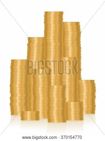 Pile Of Money, Many Golden Coins, Symbol For Wealth, Richness, Career, Success, Profit, Luxury, Pros