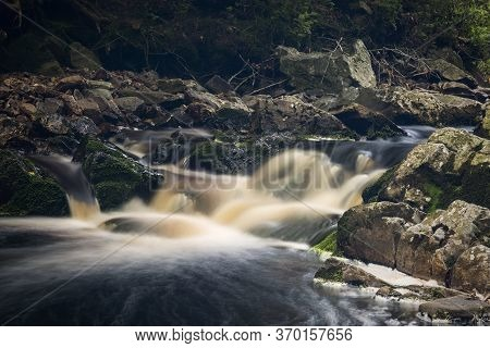 Beautiful Waterfall Landscape In Vallee De La Hoëgne, Belgium Ardennes