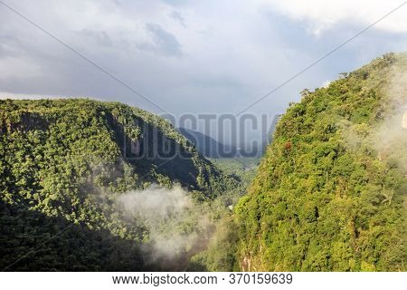 View Of The Potaro River Valley, Downstream From The Beautiful Mighty Kaieteur Waterfall On A Clear