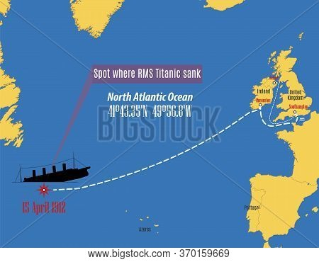 Vector Map Showing The Place Where The Titanic Sank.