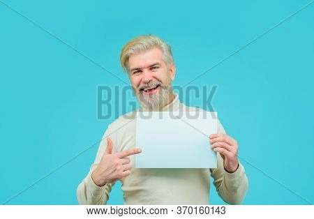 Sale. Discount. Advertising Board. Man With Blank Board. Man Points At Banner. Space For Your Text.