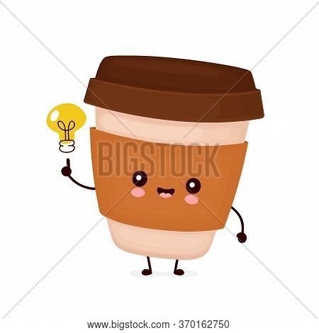 Cute Happy Coffee Paper Cup. Vector Flat Cartoon Character Illustration Icon Design.isolated On Whit