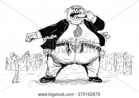 Vector Cartoon Drawing Conceptual Illustration Of Fat Rich Man, Businessman Or Capitalist In Suit An