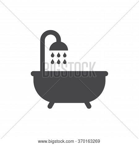Bathtub With Shower And Water Drops Black Vector Icon. Bathroom, Washroom Symbol.