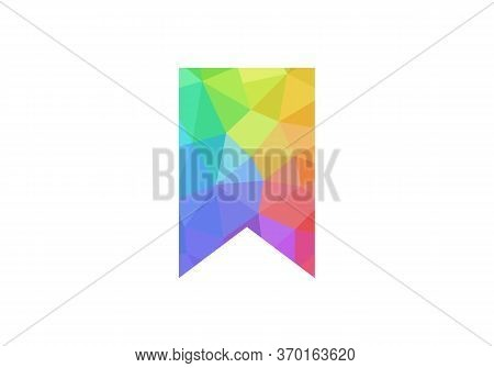 Low Poly Bookmark Icon Isolated On White Background. Bookmark Icon In Trendy Design Style