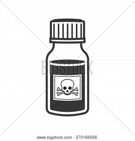 Bottle Of Poison Or Poisonous Chemical Toxin With Crossbones Label. Vector Illustration, Isolated On