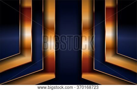 Luxurious Premium Navy Blue Abstract Background With Golden Lines. Overlap Textured Layer Design. Re