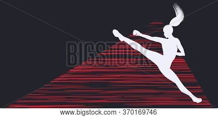 Karate In Fighting Stance - Abstract Graphic Background - Vector. Motivation For Action. Sports Bann