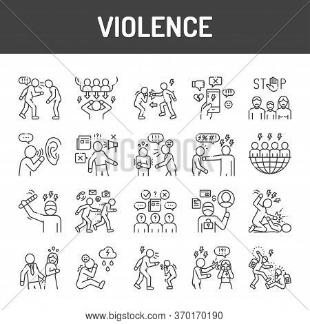 Violence Black Line Icons Set. Harassment, Social Abuse And Bullying. Signs For Web Page, Mobile App