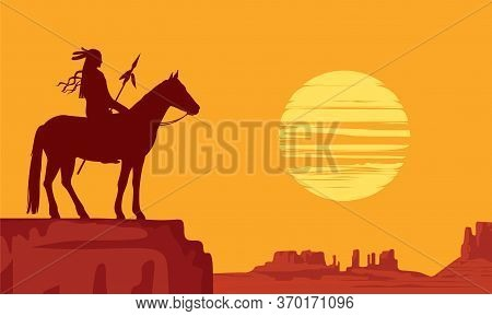 Vector Landscape With Wild American Prairies And Silhouette Of A Lone Indian On Horseback With Spear