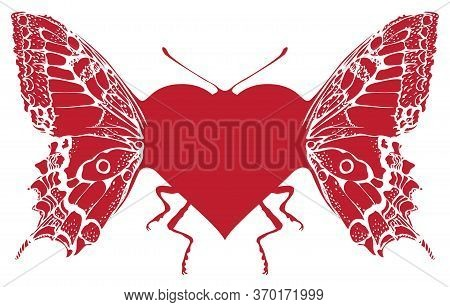 Red Heart With Wings, Legs And Antennae Of A Butterfly. Vector Graphic Illustration Of A Red Abstrac