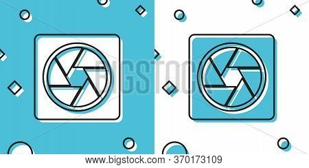 Black Camera Shutter Icon Isolated On Blue And White Background. Random Dynamic Shapes. Vector Illus