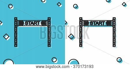 Black Starting Line Icon Isolated On Blue And White Background. Start Symbol. Random Dynamic Shapes.