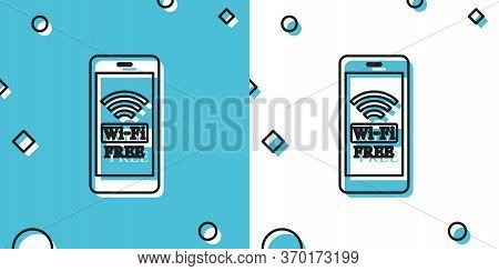 Smartphone With Free Wi-fi Wireless Connection Icon On Blue And White Background. Wireless Technolog