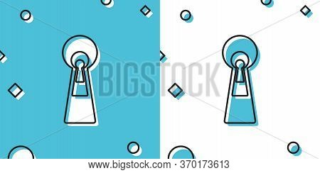 Black Keyhole Icon On Blue And White Background. Key Of Success Solution, Business. Keyhole Express