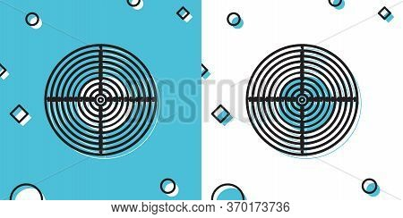 Black Target Sport For Shooting Competition Icon Isolated On Blue And White Background. Clean Target