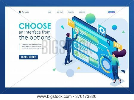 Man Chooses The Interface From The Options, Customize The User Interface. 3d Isometric. Landing Page