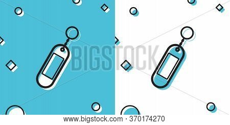 Black Key Chain Icon Isolated On Blue And White Background. Blank Rectangular Keychain With Ring And