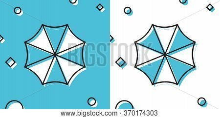 Sun Protective Umbrella Fo Beach Icon On Blue And White Background. Large Parasol For Outdoor Space.
