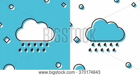 Black Cloud With Rain Icon Isolated On Blue And White Background. Rain Nimbus Cloud Precipitation Wi