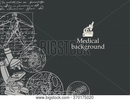 Medical Background With Inscription, Sketches, Illegible Entries And Place For Text. Hand-drawn Vect
