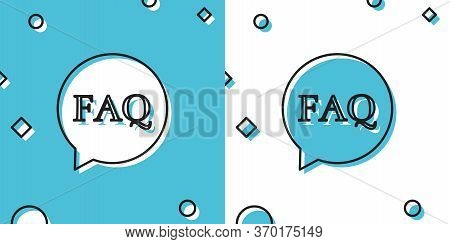 Black Speech Bubble With Text Faq Information Icon Isolated On Blue And White Background. Circle But