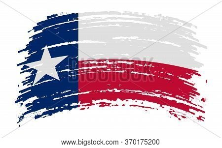 Texas Flag In Grunge Brush Stroke, Vector