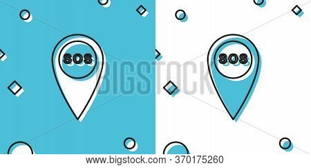 Black Marker Location With Sos Icon Isolated On Blue And White Background. Sos Call Location Marker.