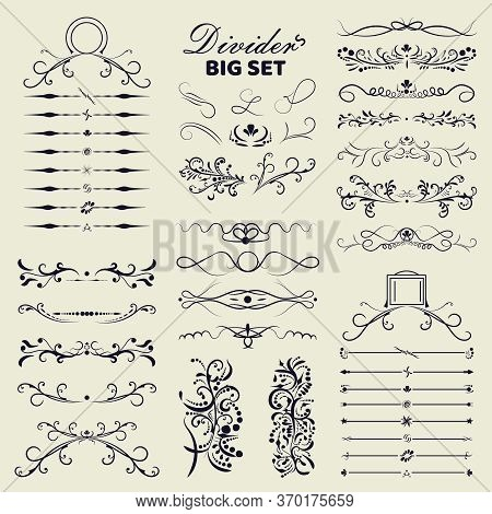 Big Set Of Decorative Flourishes Hand Drawn Dividers. Victorian Collection Ornate Page Decor Element
