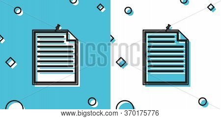 Black Note Paper With Pinned Pushbutton Icon Isolated On Blue And White Background. Memo Paper Sign.