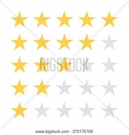 Feedback, Customer Satisfaction And Review Concept. Five Star Rating. Golden And Grey Stars, Rating