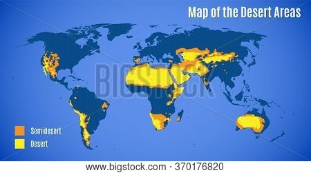 Schematic Map Of The World Sandy Deserts Area. Vector.