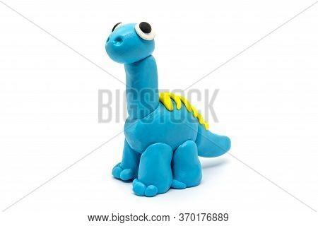 Play Dough Brachiosaurus On White Background, Dinosaur