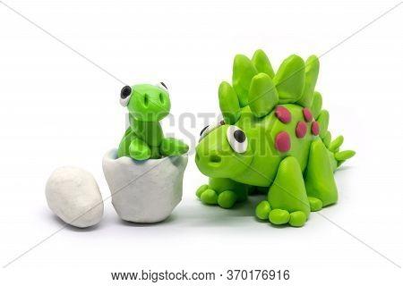 Play Dough Stegosaurus And Egg On White Background