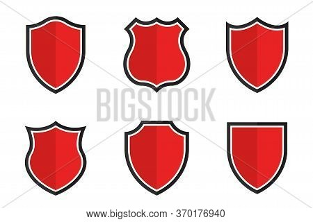 Set Of Shields In Different Shapes. Conceptual Symbol Of Protection, Safety, Security And Guarding.
