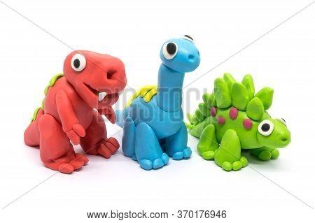 Play Dough Group Tyrannosaurus, Brachiosaurus, Stegosaurus, On White Background
